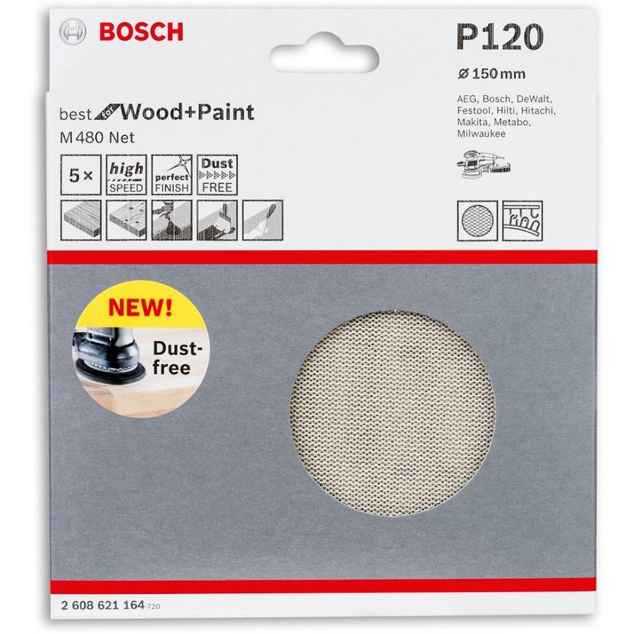 Bosch Net M480 Abrasive 150mm x 120G Pkt 5