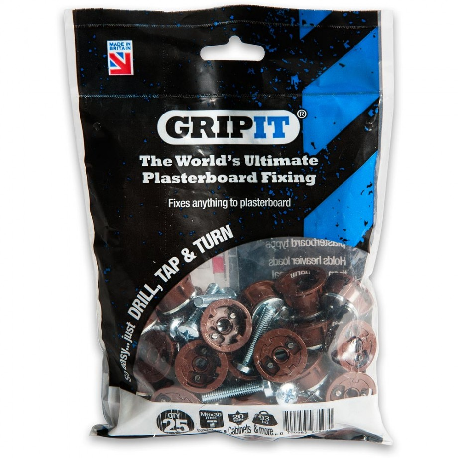 GripIt 20mm Plasterboard Fixings Brown (Pkt 25)