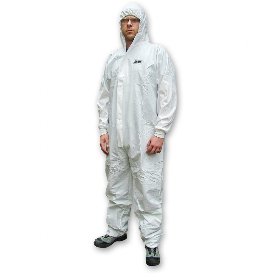 Scan Chemical Splash Resistant Disposable Coverall White Type 5/6 XXL