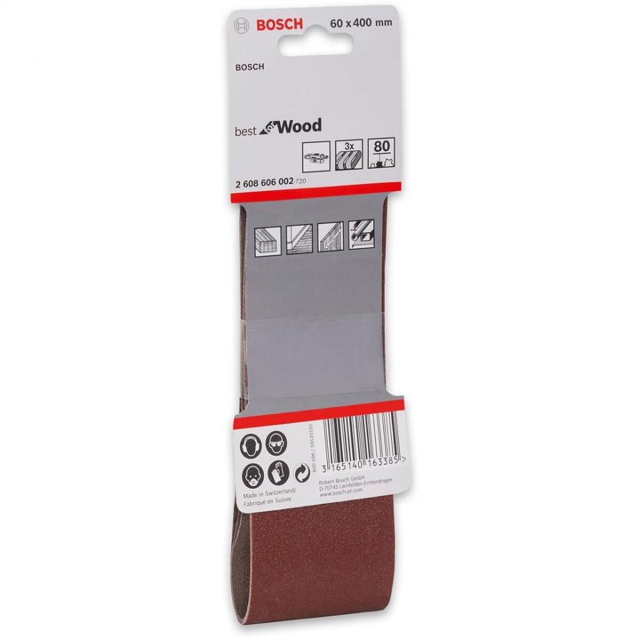 Bosch Cloth Sanding Belt 60 x 400mm x 80 Grit (Pkt 3)