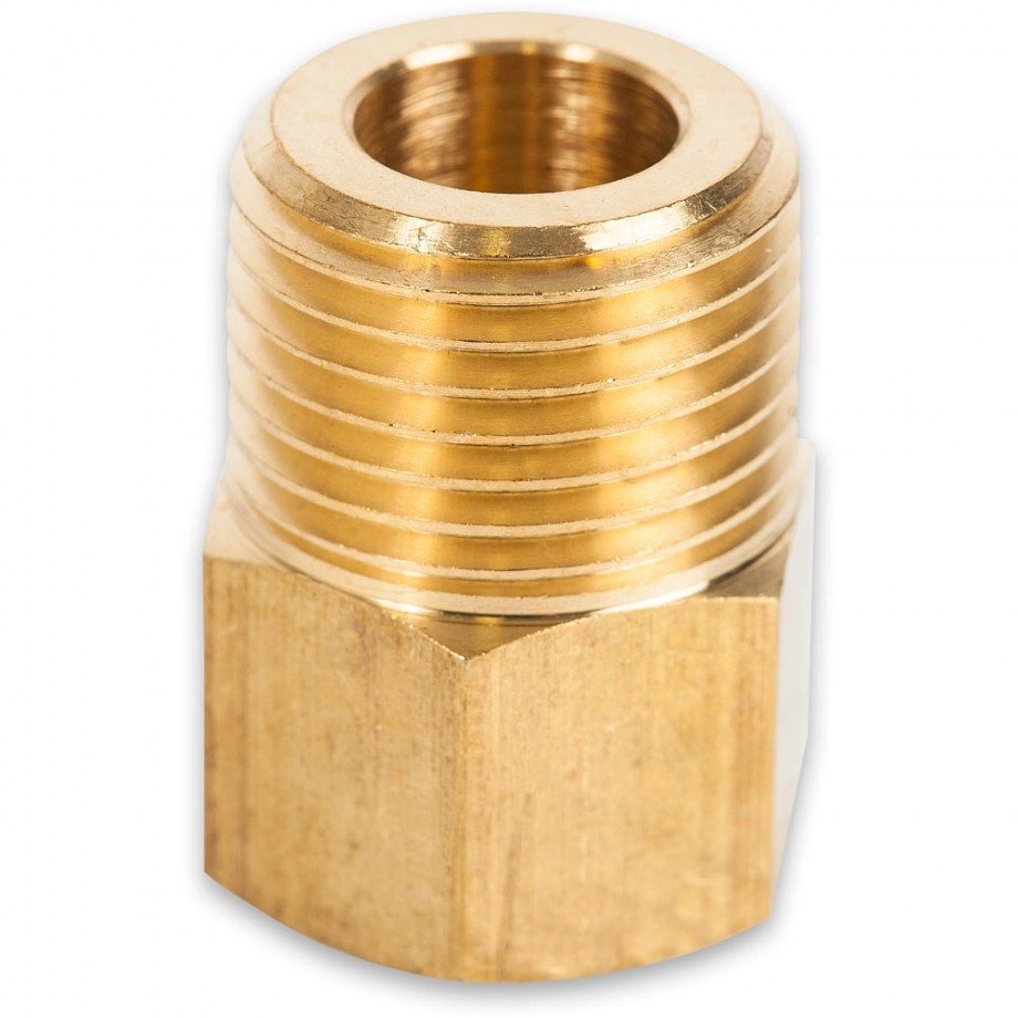 "Axminster Airline Fitting Reducer 1/2"" BSPT Male, 1/4"" BSPT Female"