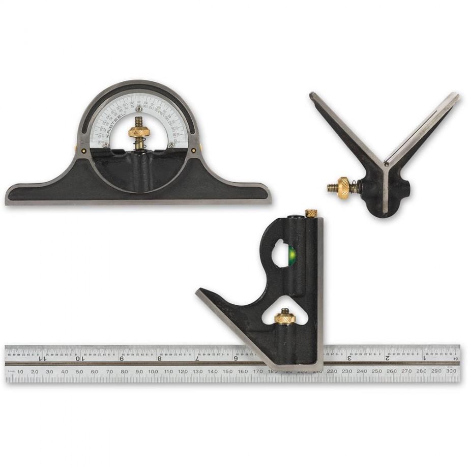"Axminster Precision 300mm/12"" Cast Iron Combination Square Set"