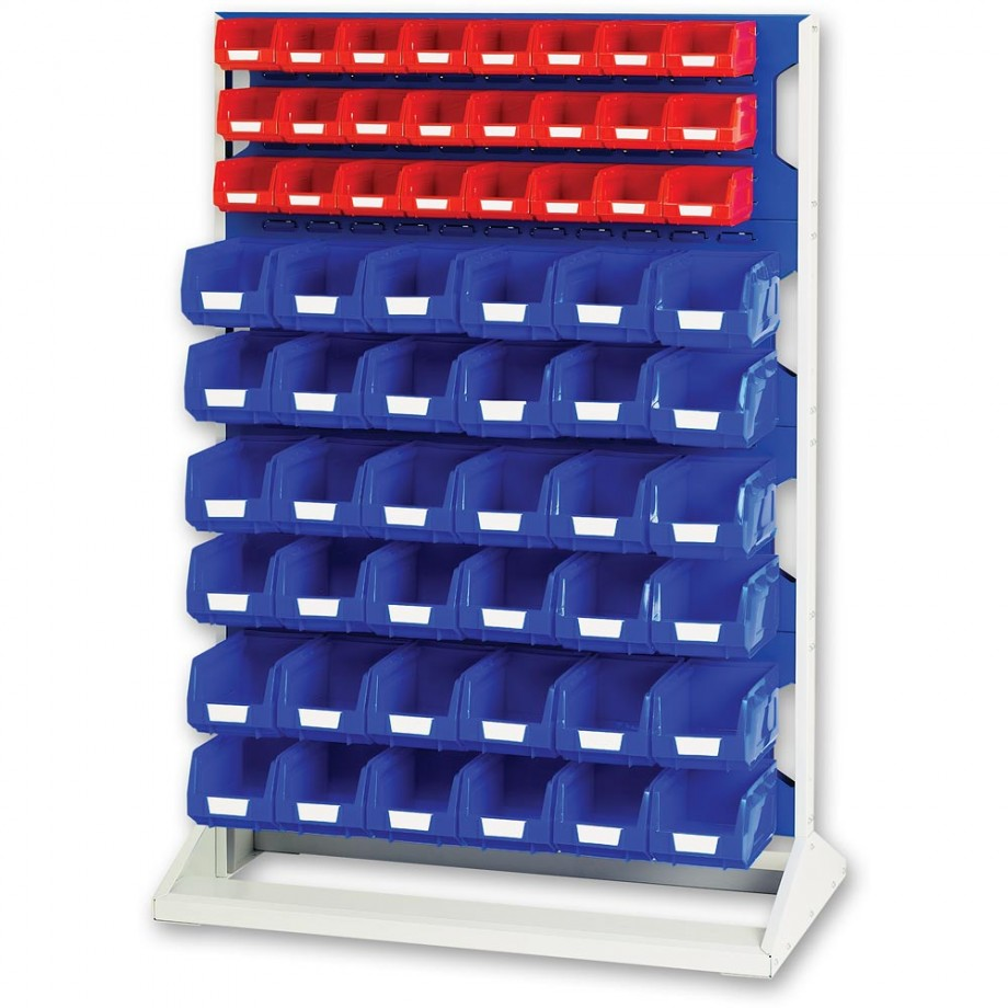 bott 1450mm Static Louvre Storage Rack 48 Red & 72 Blue Bins