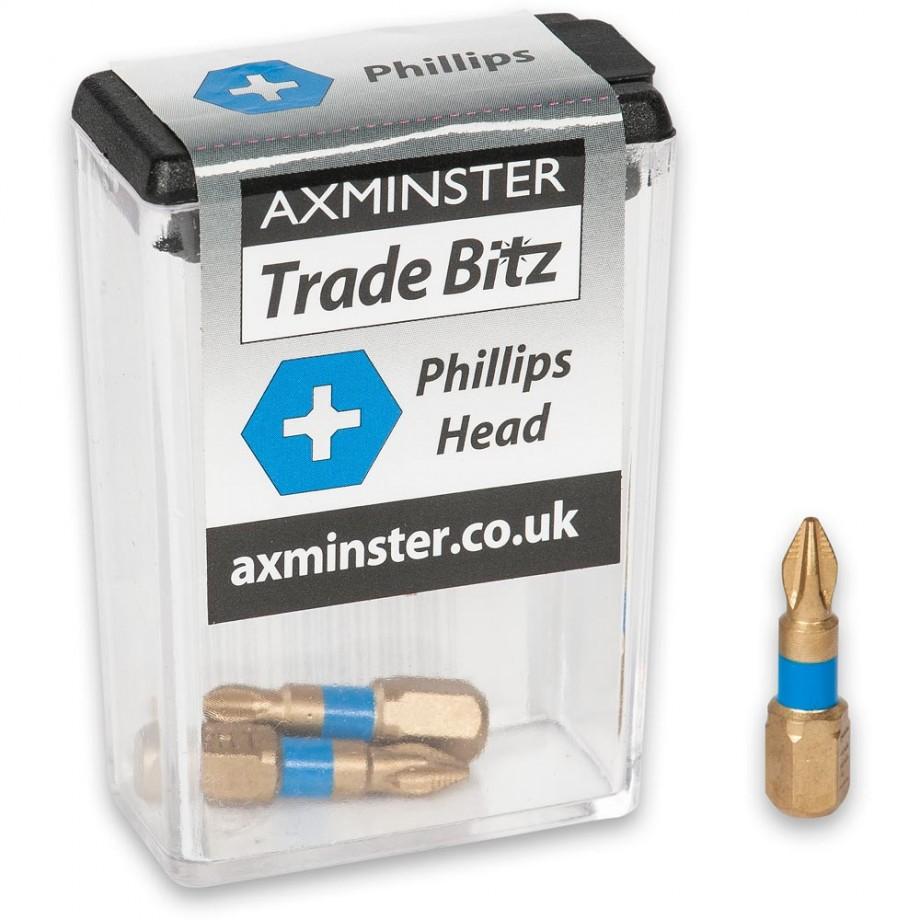 Axminster Trade Bitz TiN PH1 S/Driver Bits (Pkt 3)