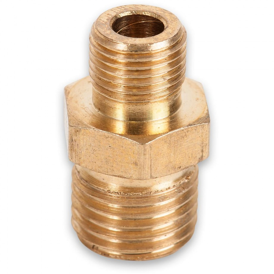 """Axminster Airline Fitting Reducer 1/4"""" BSPT Male, 1/8"""" BSPT Male"""