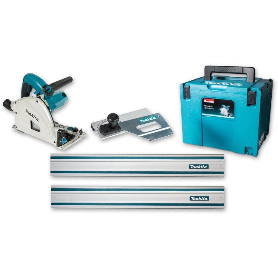 Makita SP6000J1 Plunge Saw, 2 Guide Rails & Bevel Guide - PACKAGE DEAL