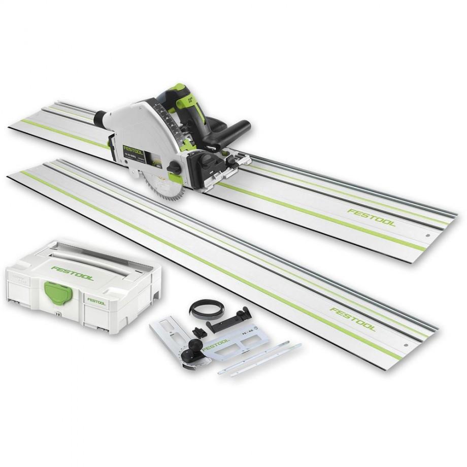 Festool TS 55R EBQ-Plus-FS Plunge Saw, 2 x 1,400mm Rails & Accessory Kit