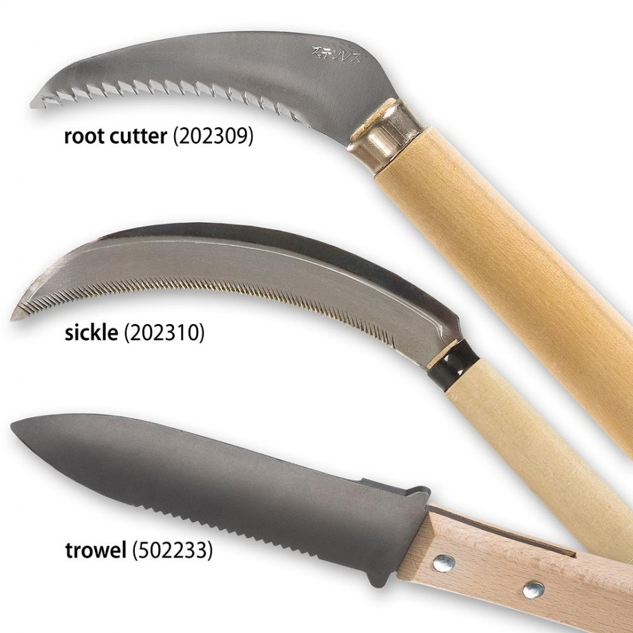 Set of 3 Japanese Garden Tools - Cutter, Sickle and Trowel