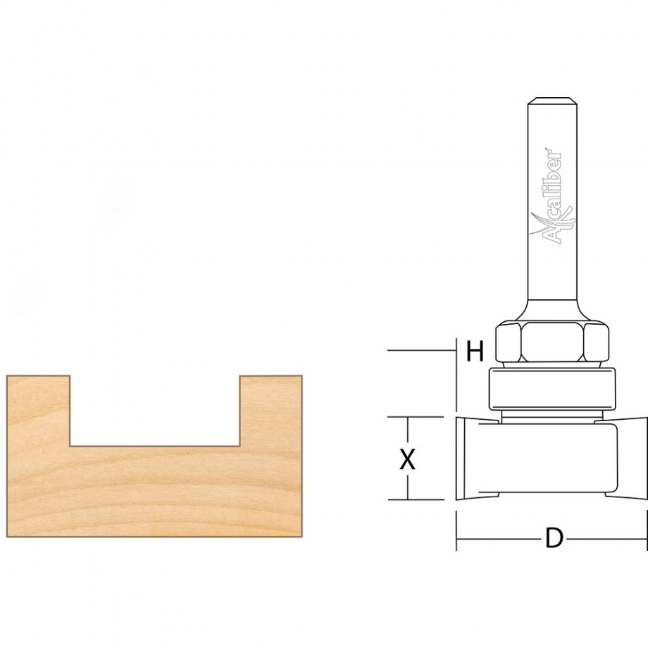 """Axcaliber Intumescent Strip Router Cutter - 15mm - S=1/2""""(12.7mm)"""