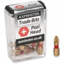 Axminster Trade Bitz TiN PZ2 S/Driver Bits 25mm (Pkt 10)