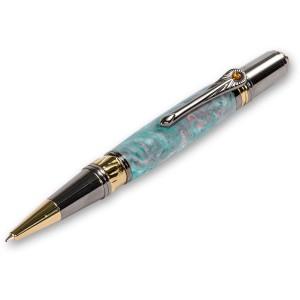 Broadwell Art Deco Gold Titanium & Black Ball Point Pen Kit