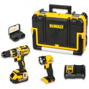 DeWALT DCD795M1 Brushless Combi Drill, Torch & Bit Set