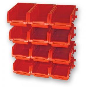 Faithfull 12 Plastic Storage Bins with Wall Mounting Rails