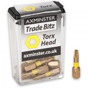 Axminster Trade Bitz TiN Coated Torx Screwdriver Bits