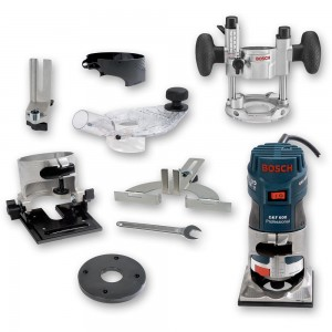 "Bosch GKF 600 Palm Router Kit (1/4"") & TE 600 Plunge Base - PACKAGE DEAL"
