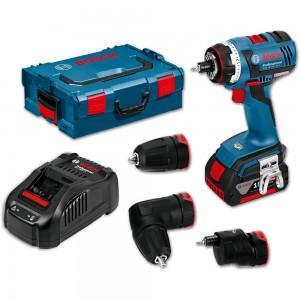 Bosch GSR 18 V-EC FC2 Cordless FlexiClick Drill 18V (4.0Ah) + 3 Attachments