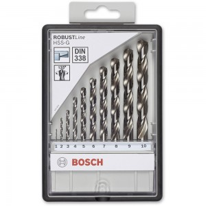 Bosch ROBUSTLine 10 Piece HSS-G Drill Bit Set