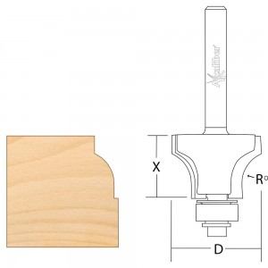 Axcaliber Sash Bar Ovolo Router Cutter (Bearing Guided)