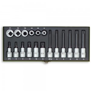 "Proxxon 18 Piece Special Socket Set for Multi-Toothed Screws (1/2"")"