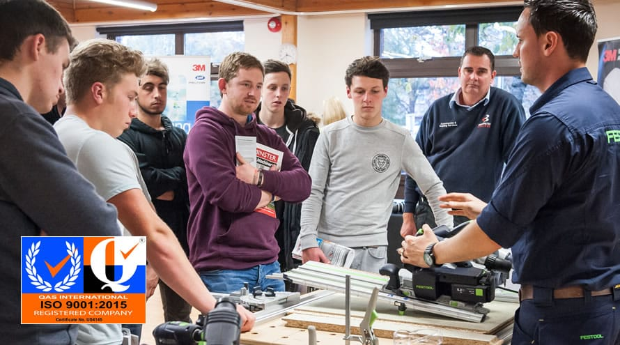 College students learning about Festool power tools