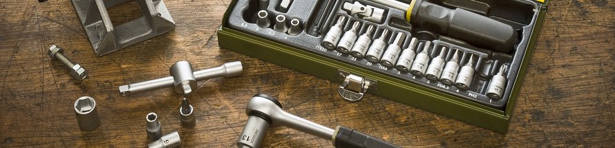 A comprehensive range of spanners and sockets